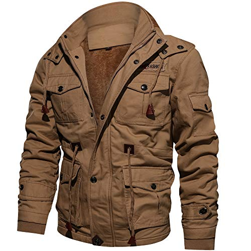 Price comparison product image Big Protion,Men's Autumn Winter Warm Jacket Long Sleeves Military Plus Size Coat Drawsting Outwear