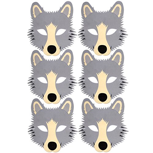 Blue Frog Toys 6 Grey Wolf Foam Children's Face Masks - Made]()