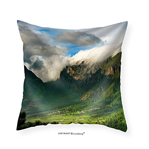 VROSELV Custom Cotton Linen Pillowcase Beautiful Landscape of the Mountains in La Palma Canary Islands Spain - Fabric Home Decor 26''x26'' by VROSELV
