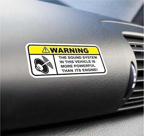 - (2X) Funny Sound System Warning Sticker Set Vinyl Decal For Car Subwoofer Woofer
