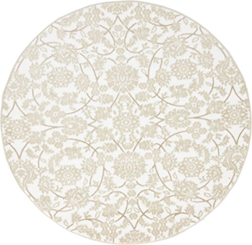 Modern Vintage Inspired Area Rugs Snow White 5' FT Round Himalaya Collection Rug - rugs for living room - rugs for dining room & bedroom - Floor (Round Snow)