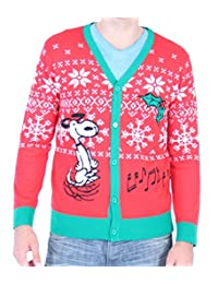 Snoopy Making Spirits Bright Adult Ugly Christmas Sweater Cardigan