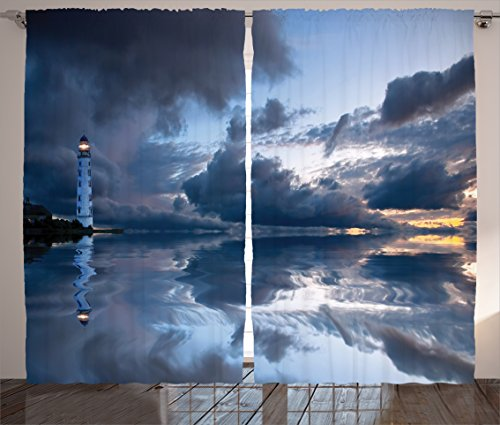 Ambesonne Lighthouse Decor Collection, Lighthouse Sailing Dark Clouds Reflection on Atlantic Ocean Rainy Weather Shadow Image, Living Room Bedroom Curtain 2 Panels Set, 108 X 84 Inches, Blue (Lighthouse Room Divider)