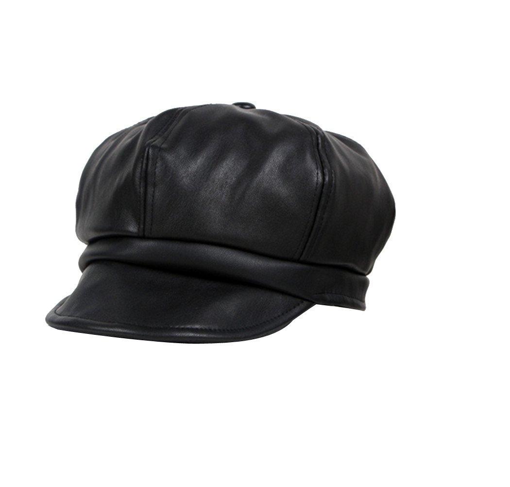 ACVIP Girl's PU Leather Metallic Chic Newsboy Cap 4-6 Years (black)