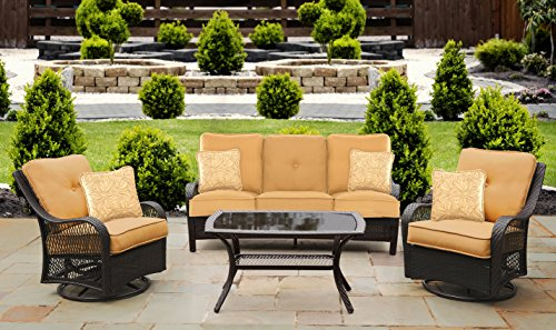 Hanover ORLEANS4PCSW-B-TAN Orleans 4 Piece All-Weather Patio Set, Sahara Sand Outdoor Furniture (Small Area Outdoor Seating)