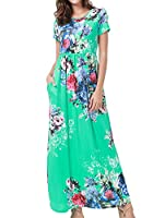 Simier Fariry Womens Summer Floral Print Casual Short Sleeve Pockets Maxi Long Dress