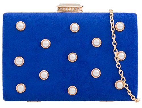 HandBags Bag Blue Girly Clutch Girly HandBags Royal Beaded Suede FHEEzP