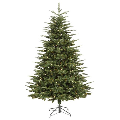 Vickerman Pre-Lit Grantwood Pine Artificial Christmas Tree with Clear Lights, 7'