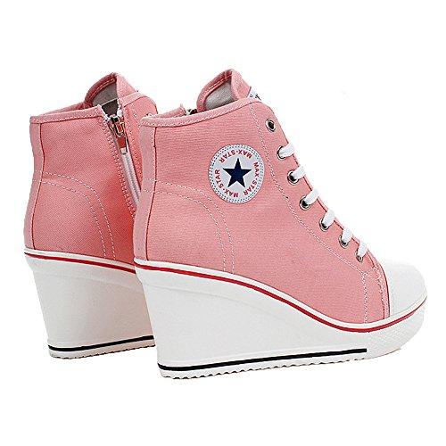 QIMAOO Women's Hi-Top Trainers Pink u7veSg