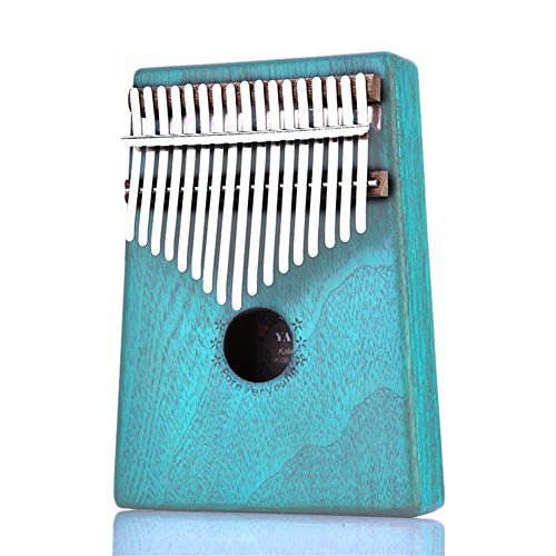 Per 17 Keys Kalimba Portable Thumb Piano Solid Finger Piano Mbira/Marimba Mahogany Body With Tune Hammer Beginner Friendly-Blue by Per