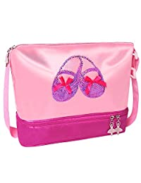 "BAOHULU Girls Ballet Dance Bags with Zipper Ballet Shoes Sequins Toe Bags (10.2"" x 9.4"" x 4.7"", PurpleShoes)"