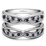 Silver Criss Cross Anniversary Style Jacket Ring Guard with Diamonds and Sapphire (0.24 ct. twt.)