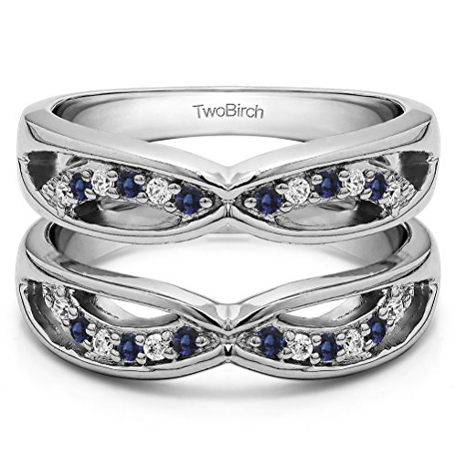 Silver Criss Cross Anniversary Style Jacket Ring Guard with Diamonds and Sapphire (0.24 ct. twt.) by TwoBirch