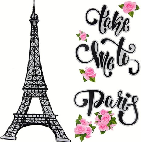 Wall Decal Paris Eiffel Tower ~ Take Me to Paris ~ Jumbo Sticker (Home Decor)