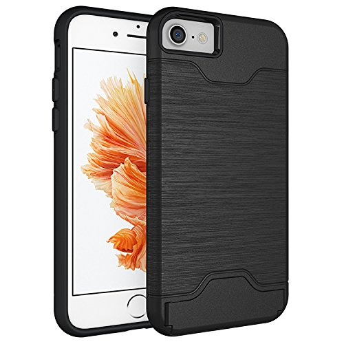 "Price comparison product image Iphone 7 Case with Card Holder (4.7"") - Heavy Duty Card Slot Armor Case for Ultimate Protection - Tough, Hard Wearing Wallet Case by Foxx Electronics (Black)"
