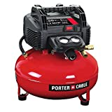 PORTER-CABLE Pancake Compressor is constructed with a pancake style tank for optimal stability, water drain valve, rubber feet and a 150 PSI. The higher pressure design provides longer air tool performance and features a 2.6 SCFM at 90 PSI al...