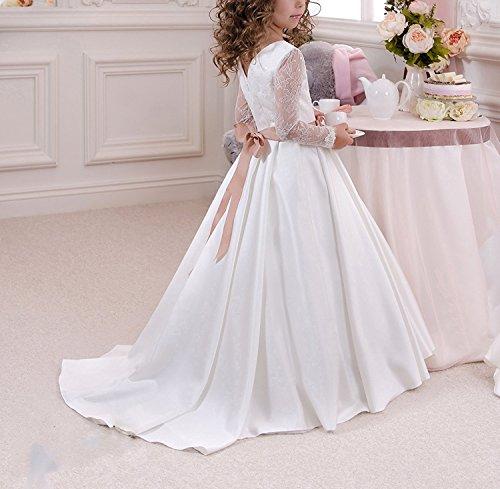 KekeHouse Niña de las flores vestido de manga larga de encaje vestidos de primera comunión vestido de la princesa cumpleaños: Amazon.es: Ropa y accesorios