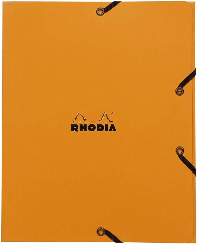 Clairefontaine 19248c Gummizugmappe Mit 3 Klappen Rhodia Format 19 X 24 Cm Gummibandverschluss Farbe Orange Bürobedarf Schreibwaren