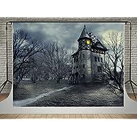 SUSU 7x5ft/2.2x1.5m Halloween Photography Backdrops Forest Vintage Castle Background Photo Wrinkles Free Fantasy Sky Studio Shoot