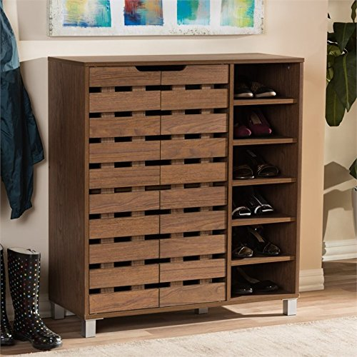 2 Door Contemporary Cabinet (Baxton Studio Shirley 2-Door Shoe Cabinet in)