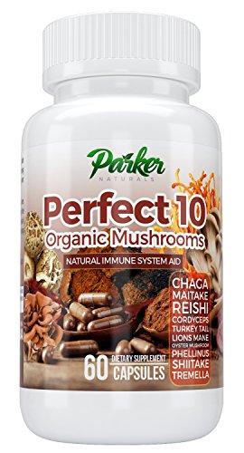Perfect 10 Organic Mushroom Capsules to Boost Immunity with Potent Natural Nutrition. 10 Mushroom Blend Including Chaga Majtake Reshi, Turkey Tail, Shitake, Tremella, Phellinius Mushrooms. 60 Caps For Sale