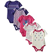 Nautica Baby Girls' 5 Pack Bodysuits, Baby Yellow, 0-3 Months
