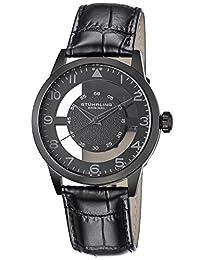 Stuhrling Original Men's 650.04 Aviator Quartz Transparent Dial Leather Strap Black Watch