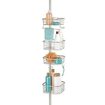 mDesign Estantería para ducha en metal con tensión constante – Repisa para  baño ajustable para fijar 64043aa9a653