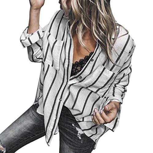 e Casual Camicie Bottone con della Camicia Lunghe Sexy Bottoni di a Modo del Camicetta a Allentata Elegante JiaMeng Top Parti Righe Casuale Bluse Donna a Strisce a Superiori della Camicia Nero Maniche P04Rnxwq5E
