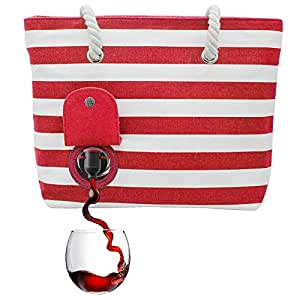 PortoVino Beach Tote - Wine Handbag with Hidden, Insulated Compartment, Holds 2 Bottles of Wine! Red & White