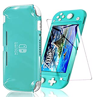 Cover Case Compatible with Nintendo Switch Lite Switch Lite Cover Case with One Tempered Glass Screen Protector Soft TPU Protective Shell Anti Scratch Switch Lite Games Accessory (Translucent White)