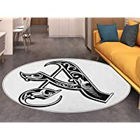 Letter A Area Silky Smooth Rugs Abstract Design Early Medieval Period Soft Curved Lines Dark Contrasting Colors A Home Decor Area Rug Black White