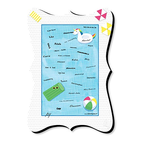 Big Dot of Happiness Make A Splash - Pool Party - Unique Alternative Guest Book - Summer Swimming Party or Birthday Party Signature Mat