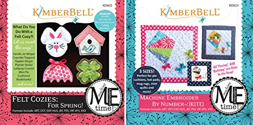 KimberBell Designs Bundle of 2 Embroider by Number ME Time CD's - Felt Cozies - Spring PLUS Kite Embroidery KD603+KD622