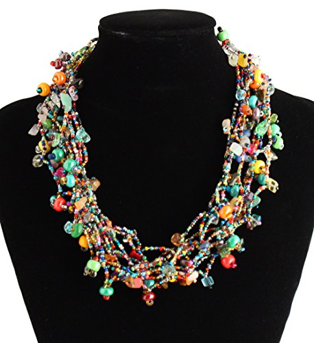 Full of Goodies Czech Crystals Glass Beads Multicolored Hand Made Fair Trade Necklace *NE101-101*