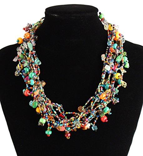 Beaded Artisan Jewelry - Multi Strand Multicolored Beaded Fair Trade Artisan Necklace Crystal Glass Guatemala19