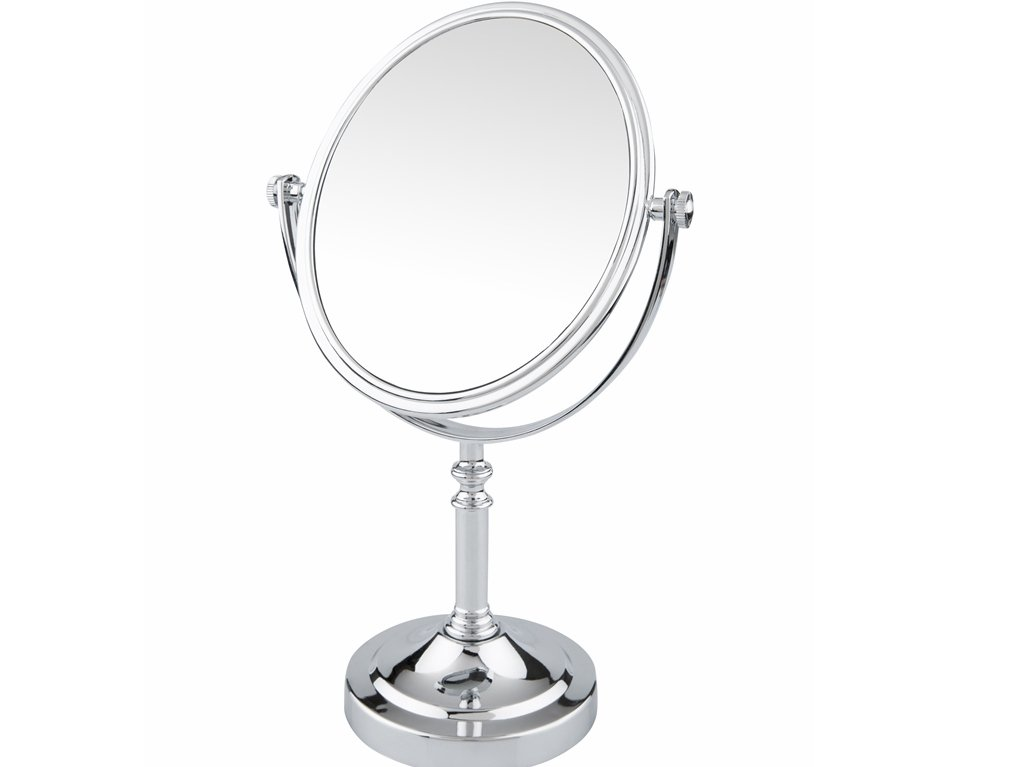 Pinkzio Double Sided Swivel Vanity Mirror with 3 x Magnification, Oval Shaped Two-sided Makeup Mirror, bathroom tabletop mirror 1x/3x magnification. Chrome Finish.