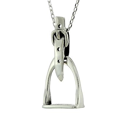 Saddle stirrup necklace 925 sterling silver horse pendant 16 inches saddle stirrup necklace 925 sterling silver horse pendant 16quot inches cable chain aloadofball Gallery