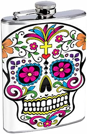 Dia De Los Muertes Candy Mask Personalised 6oz Stainless Steel Hip Flask