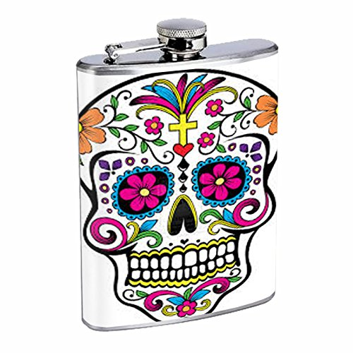 8oz Hip Flask Stainless Steel with Sugar Skull Day of the Dead Dia De Los Muertos Mexican Folk Art Design D6 Dia De Los Muertos Folk Art