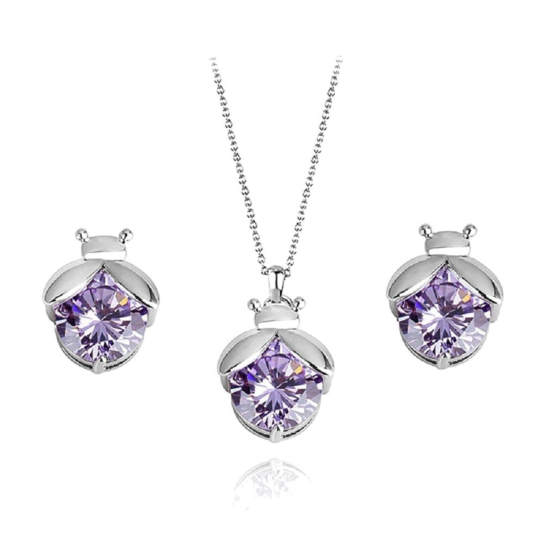 Mariquitas Violeta Cristales austríacos de Zirconia Juego de joyas Collar con colgante