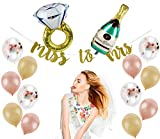 Bridal Shower Decorations | Bachelorette Party Decorations Kit | Bride to Be Sash, Veil, Champagne + Ring Foil Balloon, Rose Gold Balloons + Pink/Beige Balloons, Gold Glitter Ms to Mrs Banner