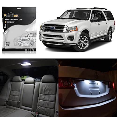 Partsam 16PCS White Interior LED Package Kit + License Plate Light for 2007-2016 Ford Expedition