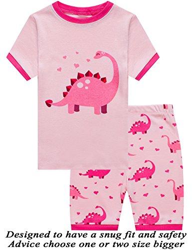 Dinosaur Short Pajamas - Dolphin&Fish Little Girls Dinosaur Cotton Short Pajamas Summer Kids Clothes Toddler Pjs 8T