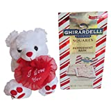 teddy bear that says i love you - Valentines Day Gift Set Including Ghirardelli Peppermint Bark Chocolate Squares- Small White and Red Plush Teddy Bear with a heart that says, I love you (Chocolate)