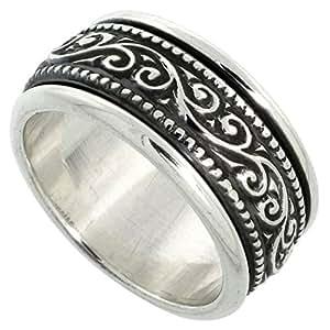 10mm Sterling Silver Mens Spinner Ring Floral Vine Pattern