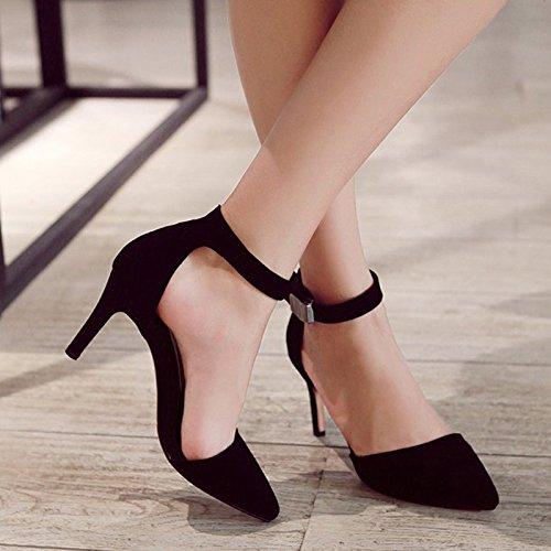 KHSKX-Spitz Hochhackigen Hohl Hohl Hochhackigen Gut Bei Fuß Ein Wort Schnalle Damenschuhe Chinesisch - Schuhe Schuhe schwarz b8d1e7