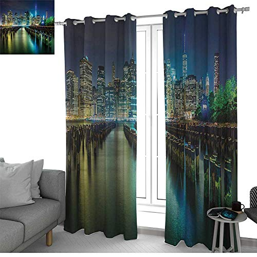 NUOMANAN Light Blocking Curtains New York,Pier Pilings and Manhattan Skyline at Night Downtown Urban East River,Dark Blue Green Yellow,for Bedroom, Kitchen, Living Room -