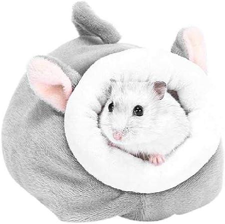 LDREYF Cama De Algodón Hamster Pequeña Mascota Caliente Casa Ardilla Suave Punzón Nido De Felpa Cómoda Habitación De Animales Pequeños Gris: Amazon.es: Productos para mascotas