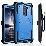 ZTE Max Duo LTE Case, [SUPER GUARD] Dual Layer Hybrid Protective Cover With [Built-in Screen Protector] Holster Locking Belt Clip+Circle(TM) Stylus Touch Screen Pen And Screen Protector Black